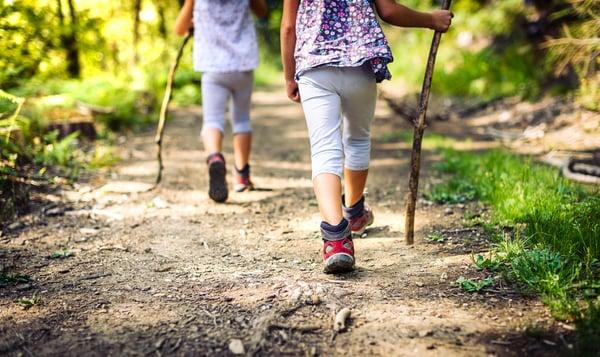 Little girls hiking